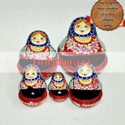 Set of 5 Hand Painted Nesting Dolls - Mache Artwork