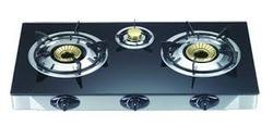 Gas Stove Three Burner Automatic with Glass