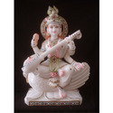 White Marble Saraswati Maa On Swan