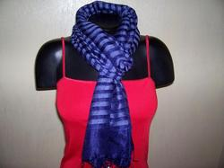 Blue Yarn Dyed Silk Viscose Stoles