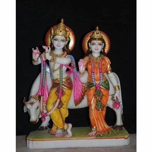 Radha Krishan Statues Radha Krishna With Cow 36nch