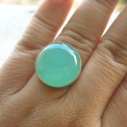 Sea Foam Green Chalcedony Gemstone Silver Ring