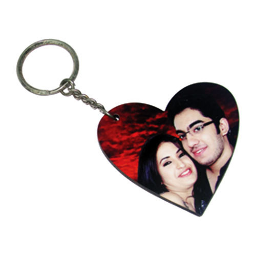 personalized wooden sublimation heart keychain at rs 20 piece