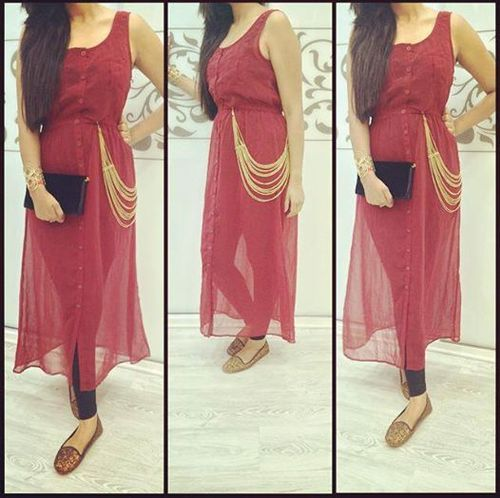 77ba6127de23 Red Color Indo Western Dress