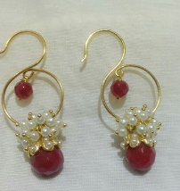 Red Pearl Silver Pearl Earring