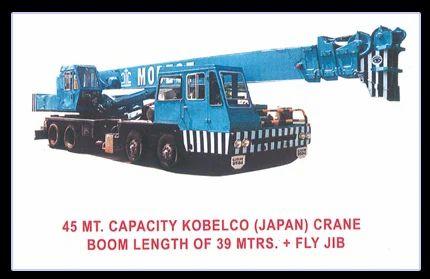 Kobelco Japan with Fly Jib, Crane Rental Service, Lift Crane Rental