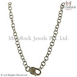 Pave Diamond Claps Silver Chain Necklace