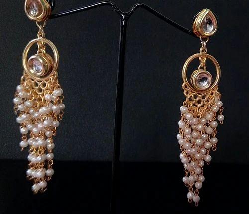 503c3740d Kundan Style Moti Waterfall Drops Earring - Tiara Jewel House ...