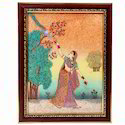Lady with Peacock Gemstone Painting 347