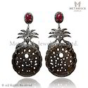Pave Setting Ruby Gemstone Carved Earring