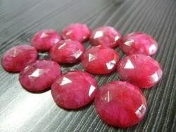Dyed Ruby Rose Cut Gemstone