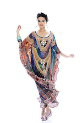 Silk Crepe Crystal Embellishment Digitally Printed Kaftan