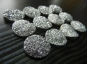Silver Coated Druzy Round Shape