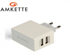 Amkette USB Rapid Wall Charger Duo  FDD678WH