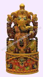 Wooden Emboss Painted Ganesha