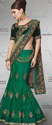 Green Net Lehenga Saree
