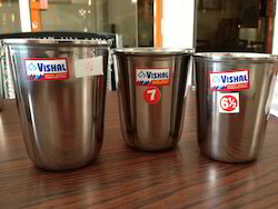 Stainless Steel Round SS Glasses, Material Grade: 26G, Capacity: 75'ml 100ml 150ml