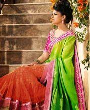 Dainty Green Georgette & Net Lehenga Saree