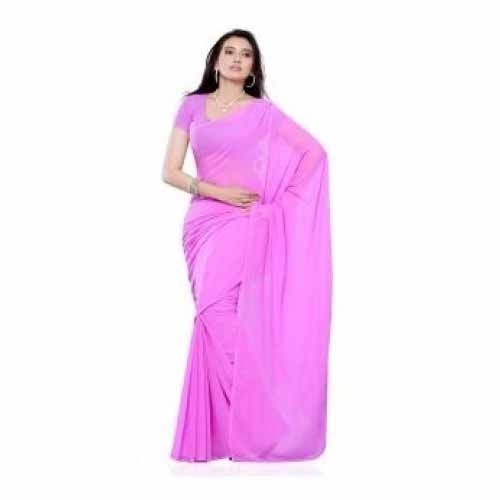 Synthetic Crepe Uniform Saree