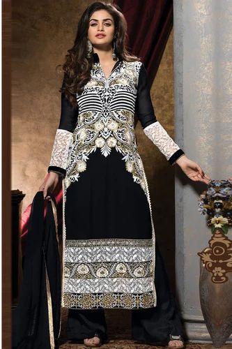 b81244763f Black Straight Pakistani Designer Party Wear Suit - Sky Sarees ...
