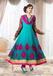 Blue Georgette Zari & Resham Embroidered Salwar Kameez