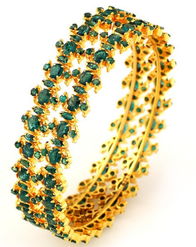 8bea2b5ae12b1 Traditional South Indian Bridal Emerald Bangle - Grt Jewellers ...