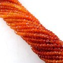 Carnelian Gemstone Faceted Rondelle 3-4mm Beads Strands