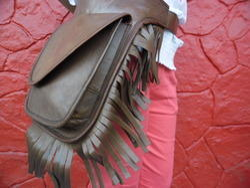 Vintage Leather Fringe Waist Bag