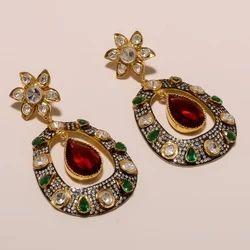 Elegant & Stylish Polki Earring in Sterling Silver