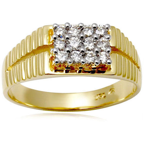 Wedding Rings For Men India: Yellow Gold Men's Diamond Ring At Rs 35200 /piece