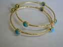 Turquoise Stone Stud Scratch Bangle