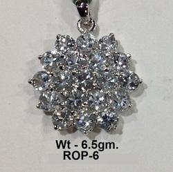 Rodium Polish 925 Sterling Silver Blue Topaz Stone Pendant