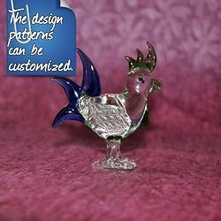 Custom Glossy Glass Bird Figurine - Customized Color Combination Available, Size: 3 Inch