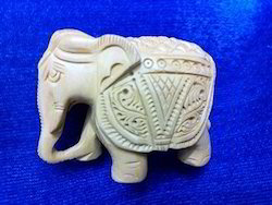 White Wooden Carved Elephant