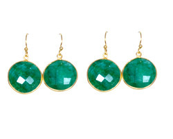 Dyed Emerald Gemstone Bezel Set Silver Earring