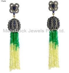 Gemstone Diamond Tassel Earrings Jewelry