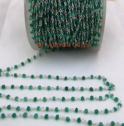 Green Onyx Rosary Bead Chain