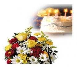 Basket Of Flowers With Cake