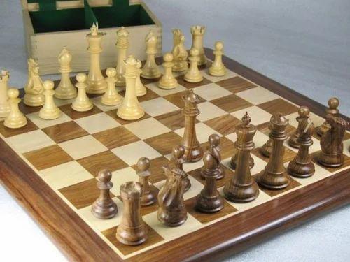 Chess Set Free Storage Box & Board Sheesham/boxwood (d0161)