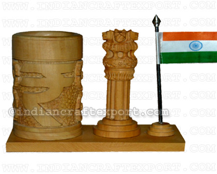 Wooden Pen Holder Cum Ashoka Pillar with Flag