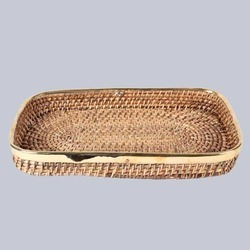 Rectangular Wicker Tray without Handles