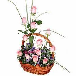 Lovely Pink Flower Basket