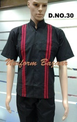 Restaurant Uniform With Red Broad Lines