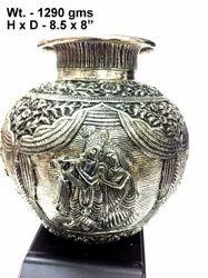 White Metal Radha Krishna Kalash Round