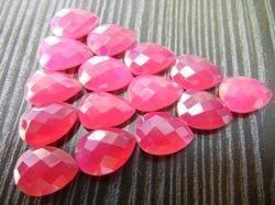 Hot Pink Chalcedony Flat Cut