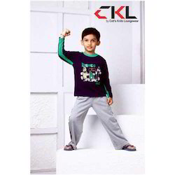 Full Sleeves Printed Designer Boy T-shirts And Track Pant, Size: S - L