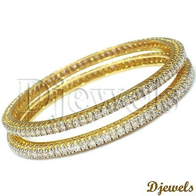 264970405a Single Line Diamond Bangles at Rs 493786 /pair | Diamond Bangles ...