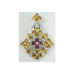 Citrine and Ruby Pendent