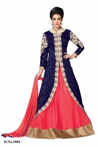 0613721901 Blue- Pink Jacket Salwar Kameez at Rs 1895 /piece(s) | Designer ...