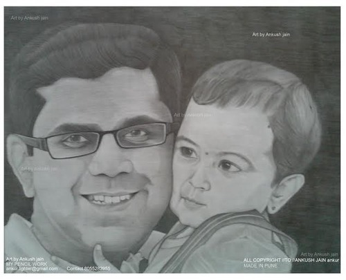 Lovely father doughter pencil sketch